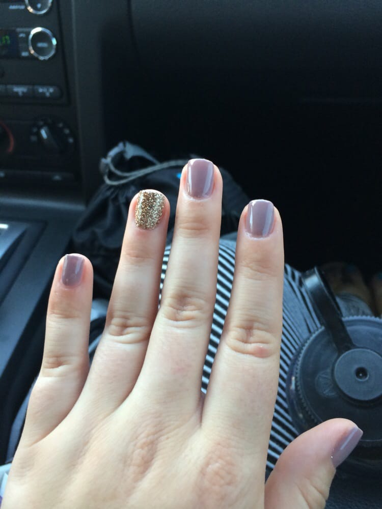 Nails freshly painted! Gel color A61 (Taupe-less Beach) and a gold ...