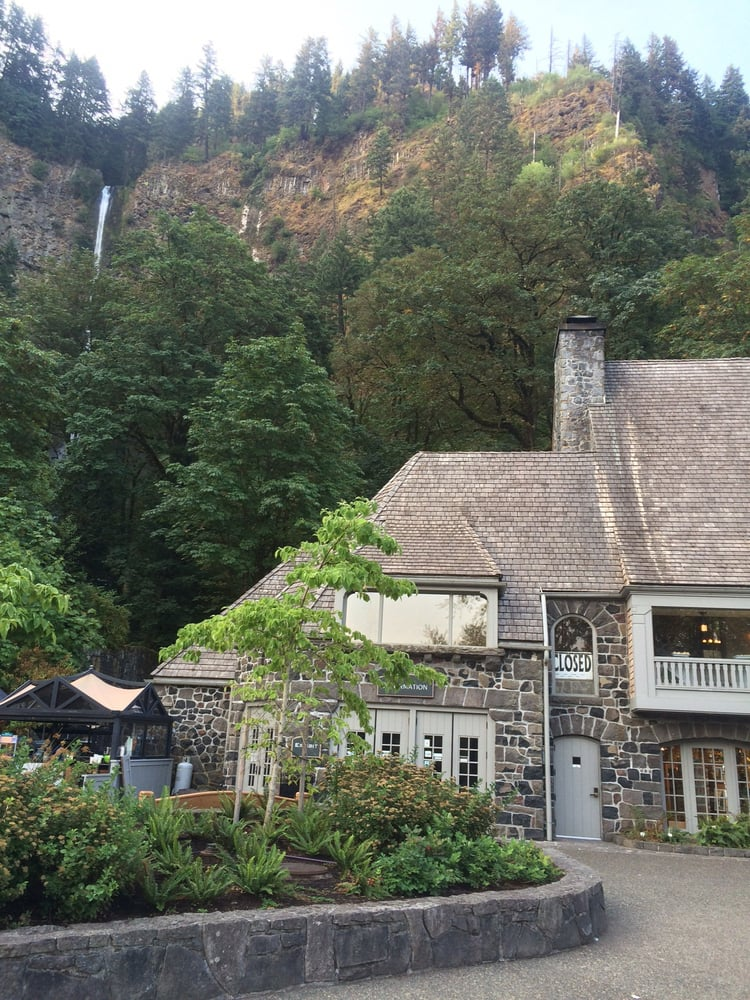 The lodge with falls in the background if you look in the