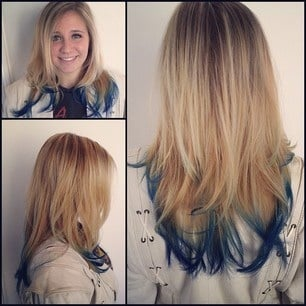 Long Layers With High Lights And Blue Dip Dye Yelp