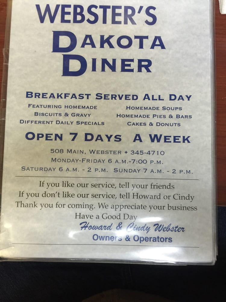 Dakota Diner: 508 Main St, Webster, SD