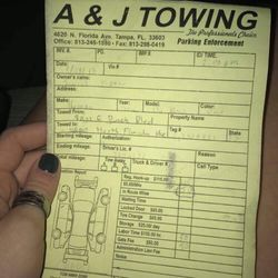 photo of aj towing tampa fl united states receipt
