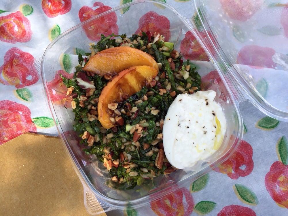 kale radicchio salad burrata peaches green apple and