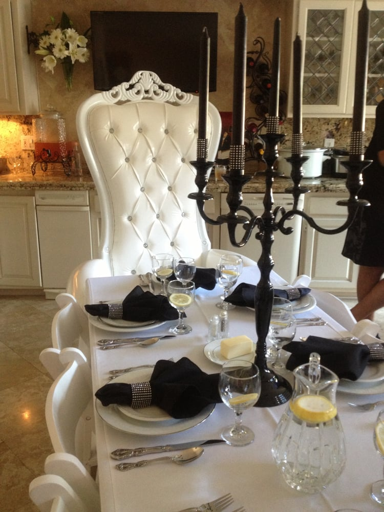 a fancy chair can make a very formal dinner! great photo prop as