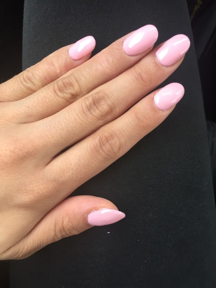 Rounded Pink Gel Color On Acrylic Nails By Tracy Love It Yelp
