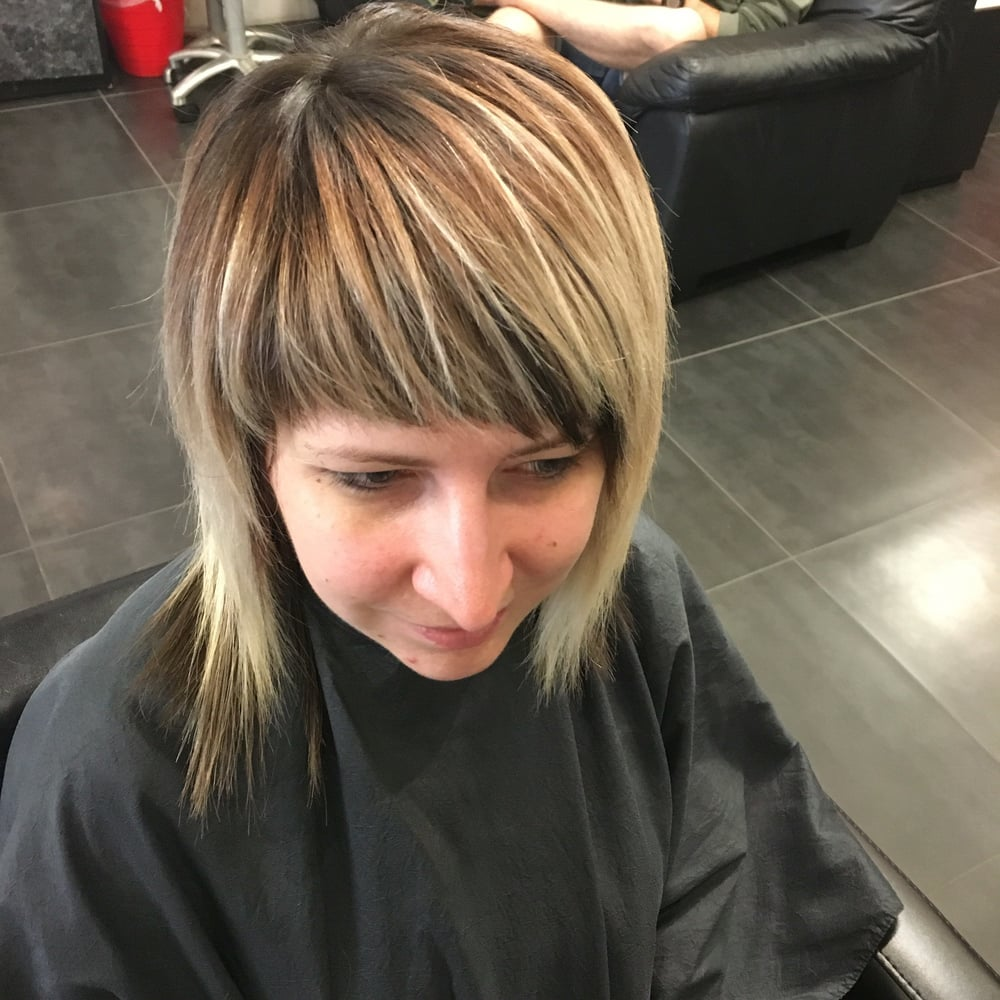 Sweet lil brunette to blonde rocker shag by jessica 1 for 3 brunettes and a blonde salon