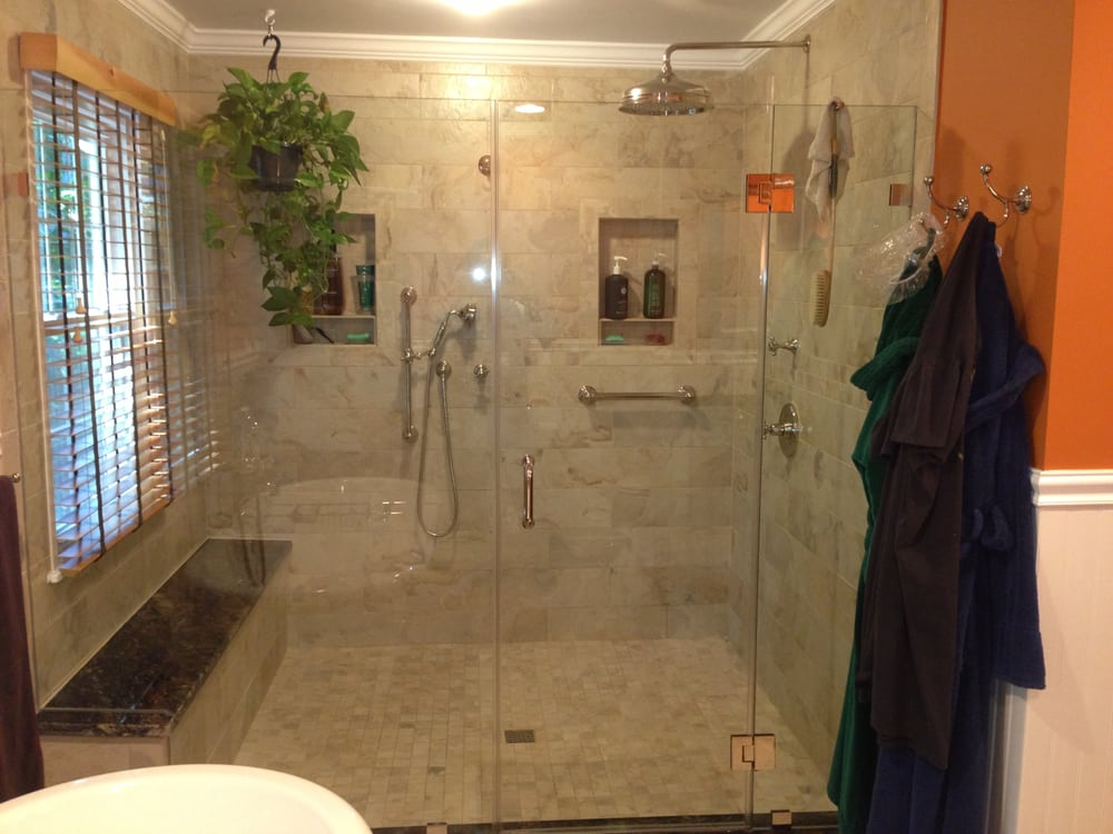 Large walk in shower enclosure w granite bench seating for Huge walk in shower