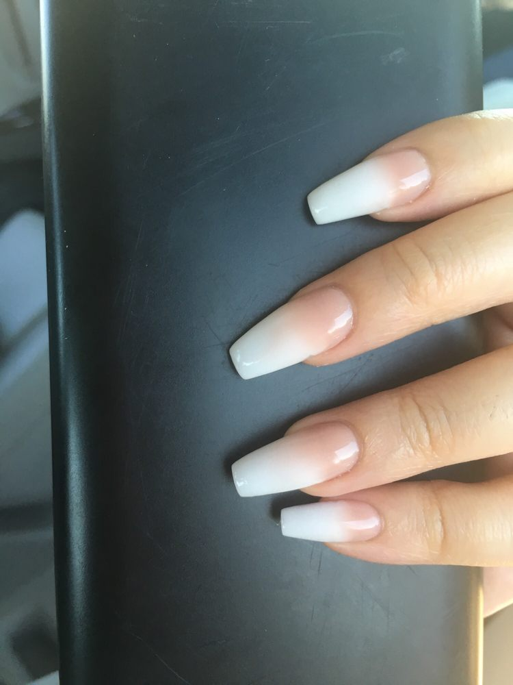 Coffin powder ombre nails, love it! - Yelp