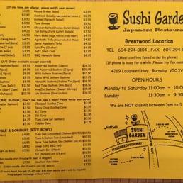 Amazing Photo Of Sushi Garden   Burnaby, BC, Canada. Menu   Dec. 2015