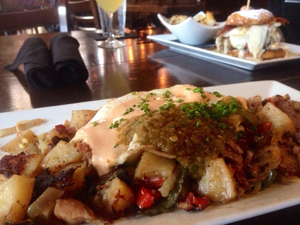 Hangover Hash In The Front Donut Burger In Background Yelp