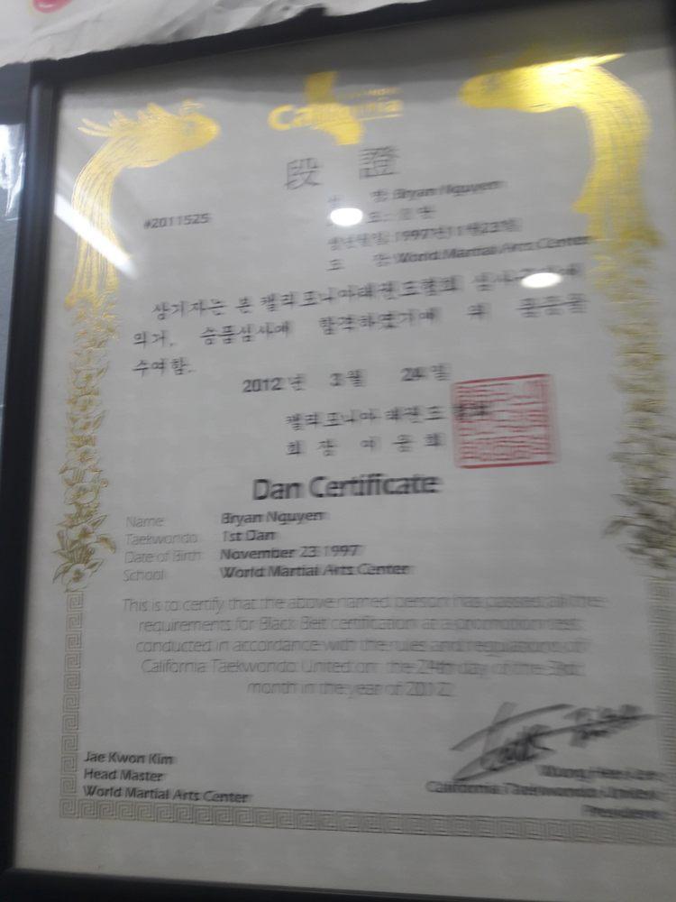 Dan Certificate Signatures Include Master Jae Kwon Kim Headmaster