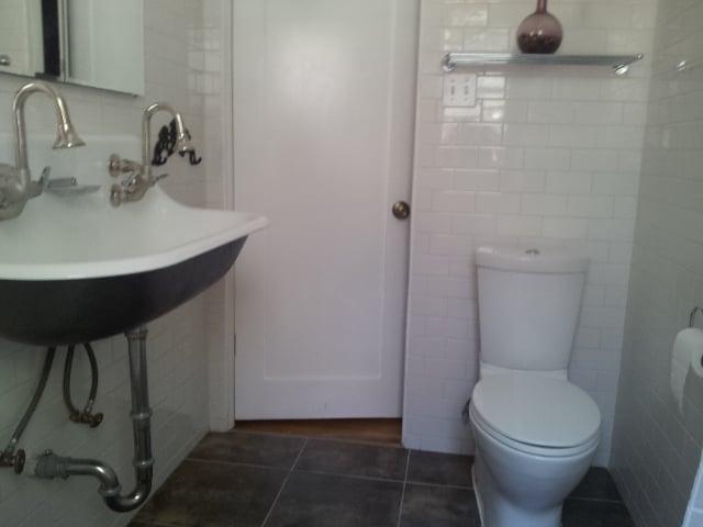 Complete Bathroom Remodel. Floor To Ceiling Subway Tile