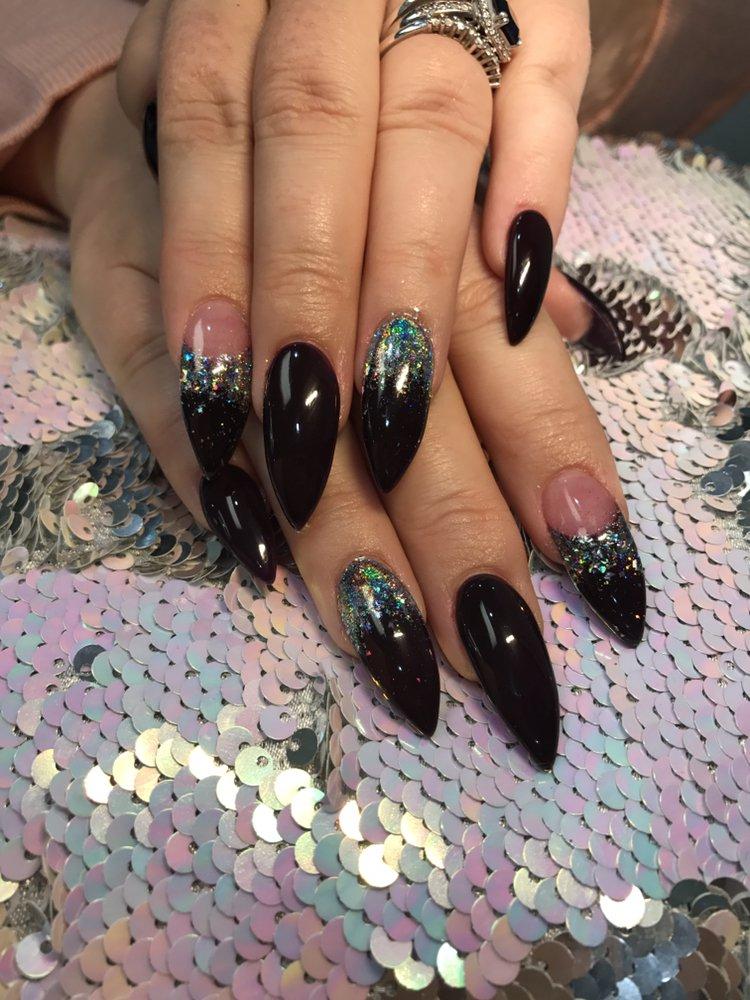 Dark purple with galaxy chrome nails by cindy - Yelp