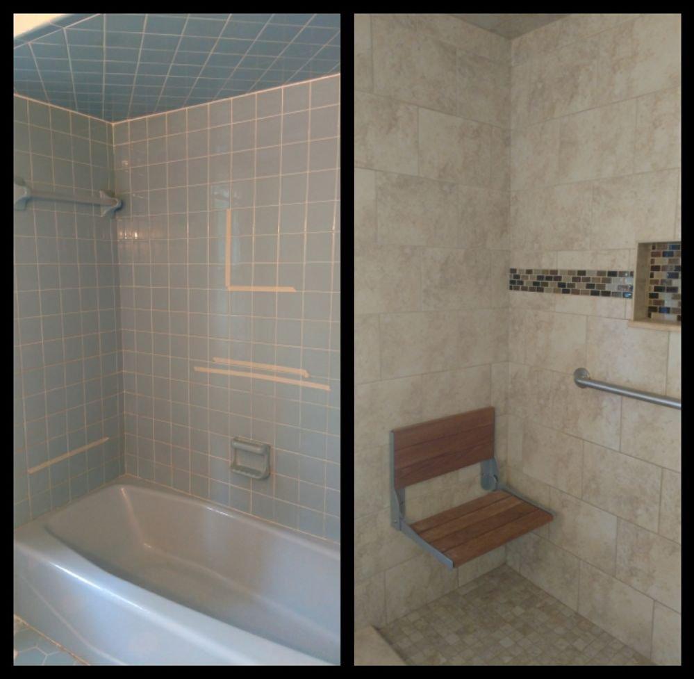 Standard fiberglass tub/ shower combo.? Call today to make that ...