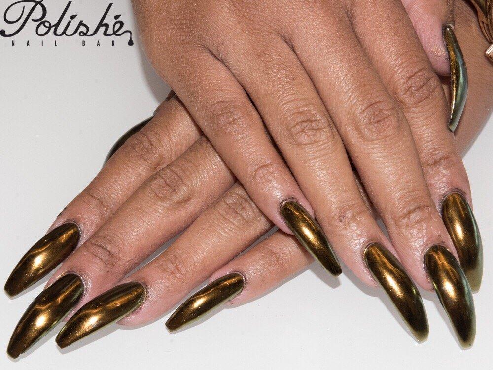 Long gold chrome nails - Yelp