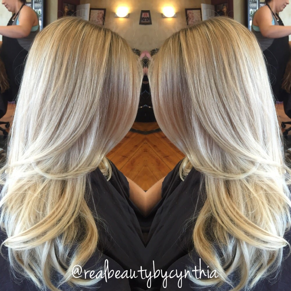 Platinum Blonde Highlights With Long Layers Yelp