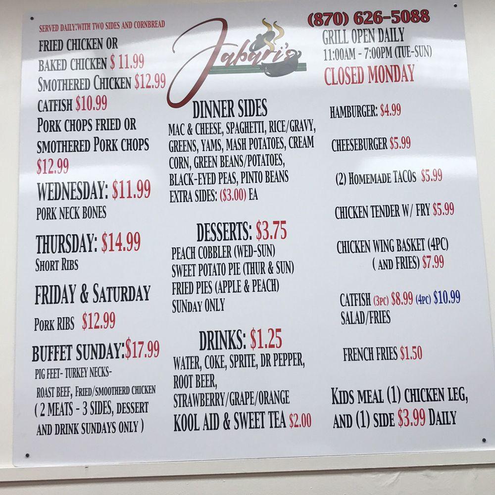 Jabari's Grill And Soul Food: 617 South Jackson, Magnolia, AR
