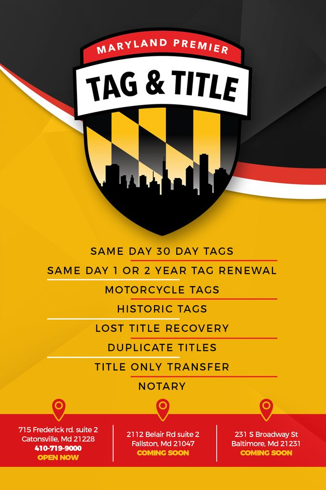 Maryland Premier Tag & Title - Registration Services - 715 Frederick ...