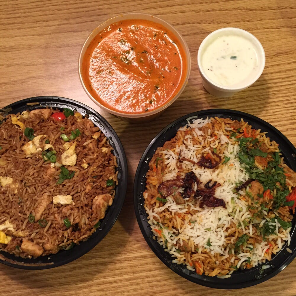 Fried rice (left), chicken makhani (top middle), boneless chicken ...