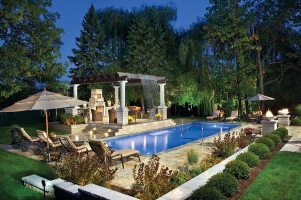 Rectangle Pool With Arbor Over Patio And Beautiful
