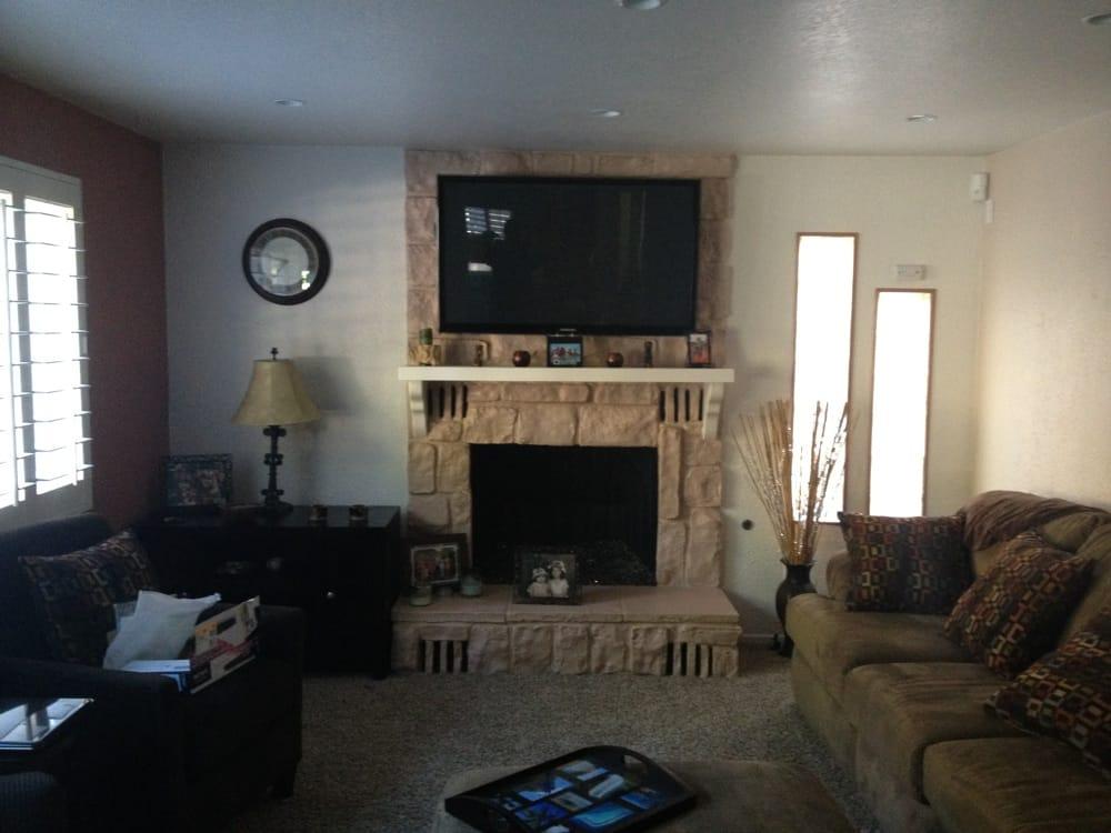 Custom Install Tv Mounted On Stone Fireplace Yelp