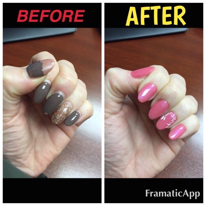 Before: My thick, unattractive acrylics from my ex-nail salon. After ...
