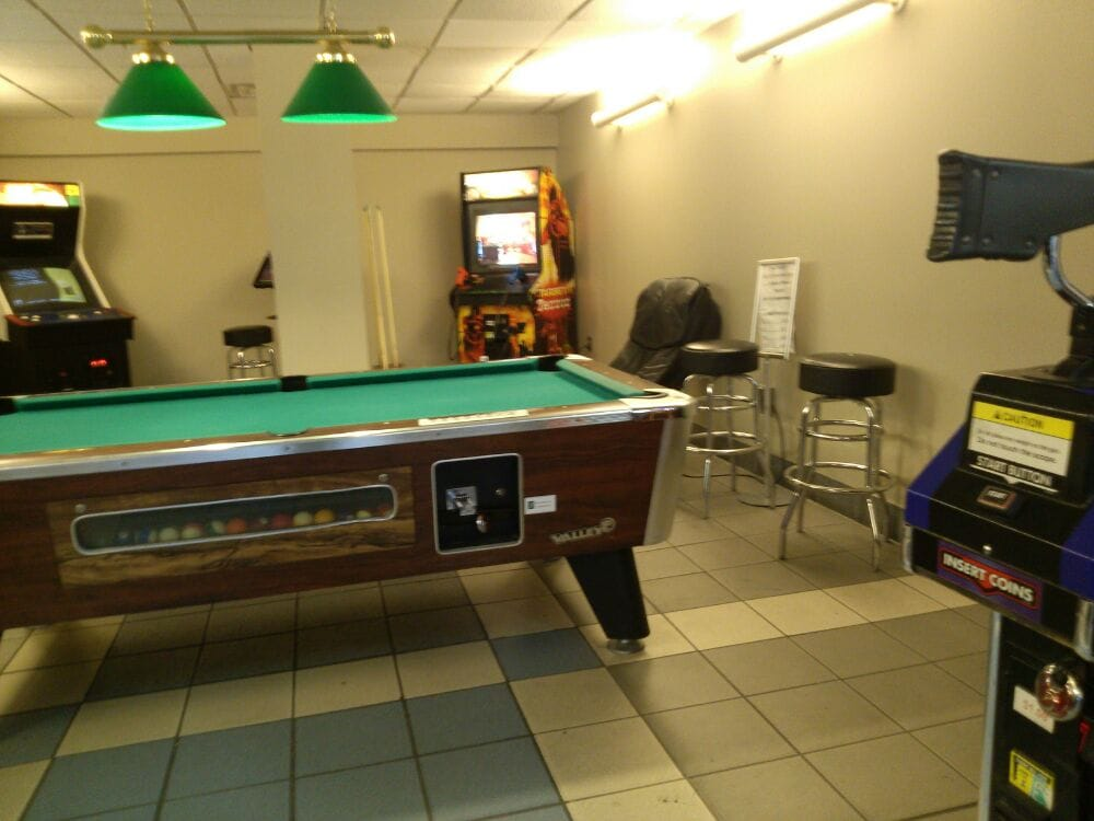 Pool Table And A Small Arcade If You Get Bored And Need A Break Yelp - Travel pool table