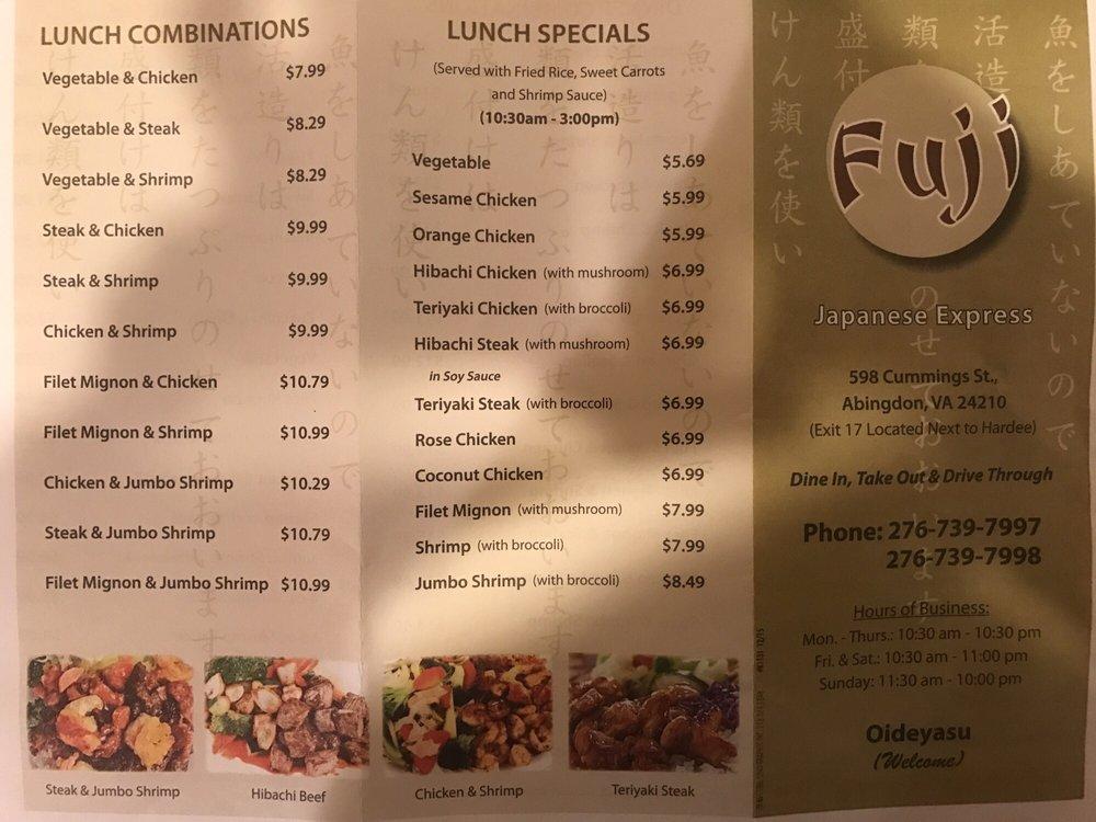 Online Menu Of Fuji Japanese Express Restaurant Abingdon
