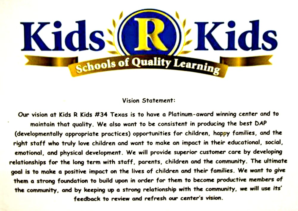 vision statement kids r kids katy  tx child care  day care