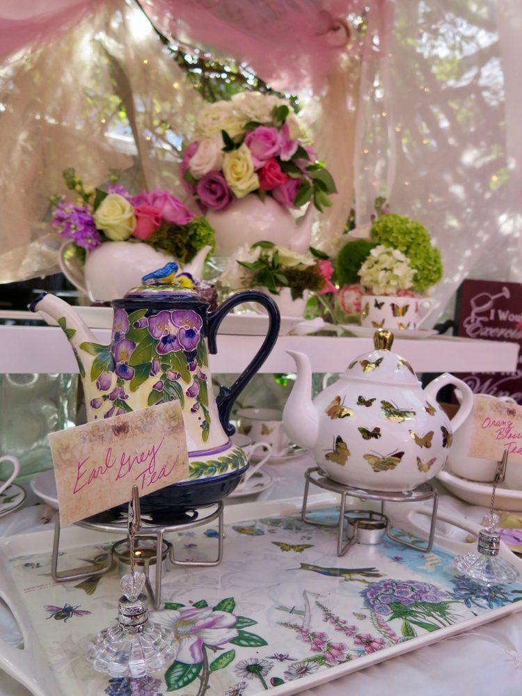 Secret Garden: Beautiful Set Up For The Tea With Fresh Cut Flowers.