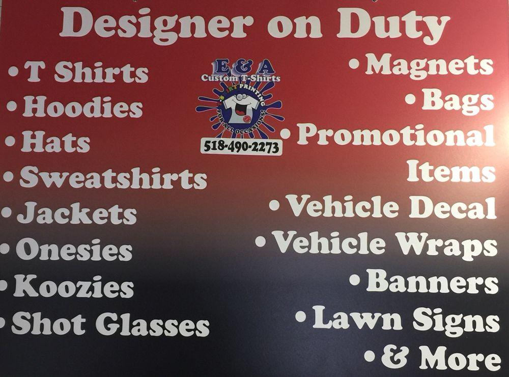 E & A Custom T-Shirts: 3 South St, Ballston Spa, NY