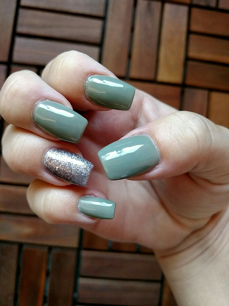Olive green fall nails. Acrylic with gel polish. Tapered square ...