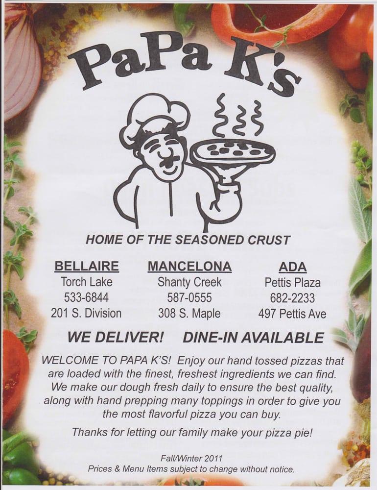 Papa K's Pizza: 201 S Division St, Bellaire, MI