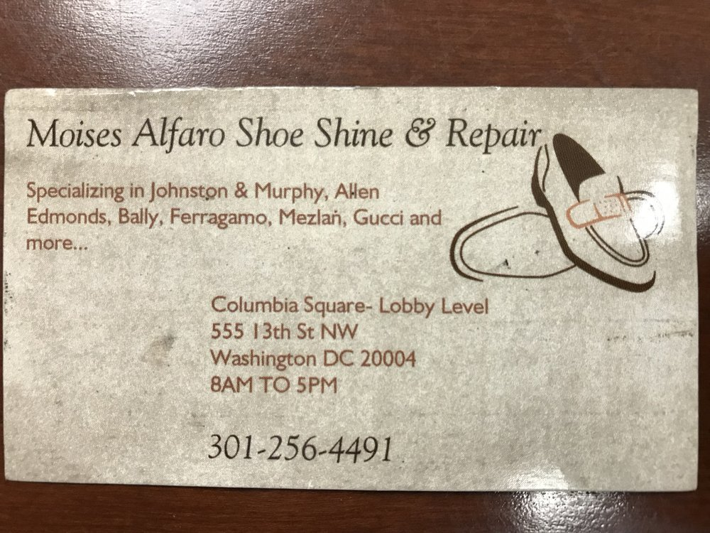 Moises Alfaro Shoe Shine & Repair: 555 13th St NW, Washington, DC, DC