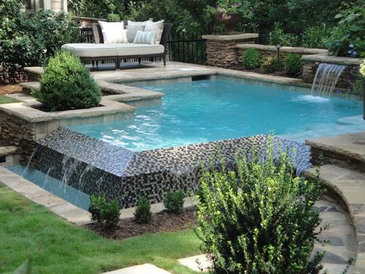 Georgia Classic Pool Vanishing Edge Beadcrete Glass Tile