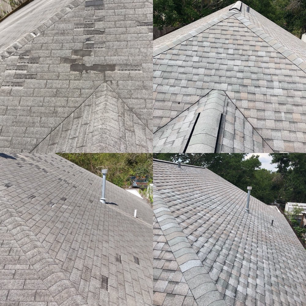 Hurricane Damaged Shingle Roof Before And After