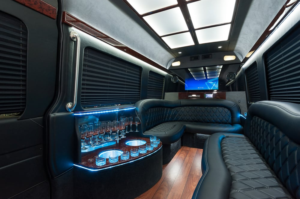 Interior Of The Mercedes Sprinter Limo With Seating For 12