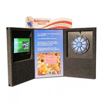 Embed a TV monitor and prize wheel in your Trade Show