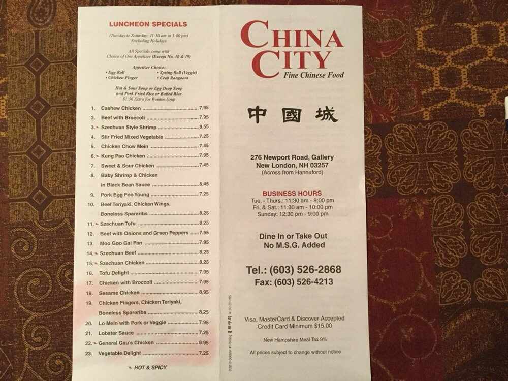 Food from China City Restaurant