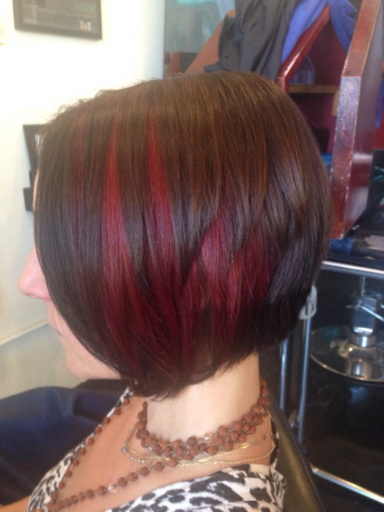 Red Peekaboo Highlights And A Line Haircut Yelp