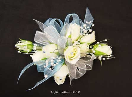 Prom Wrist Corsage With White Spray Roses Light Blue And