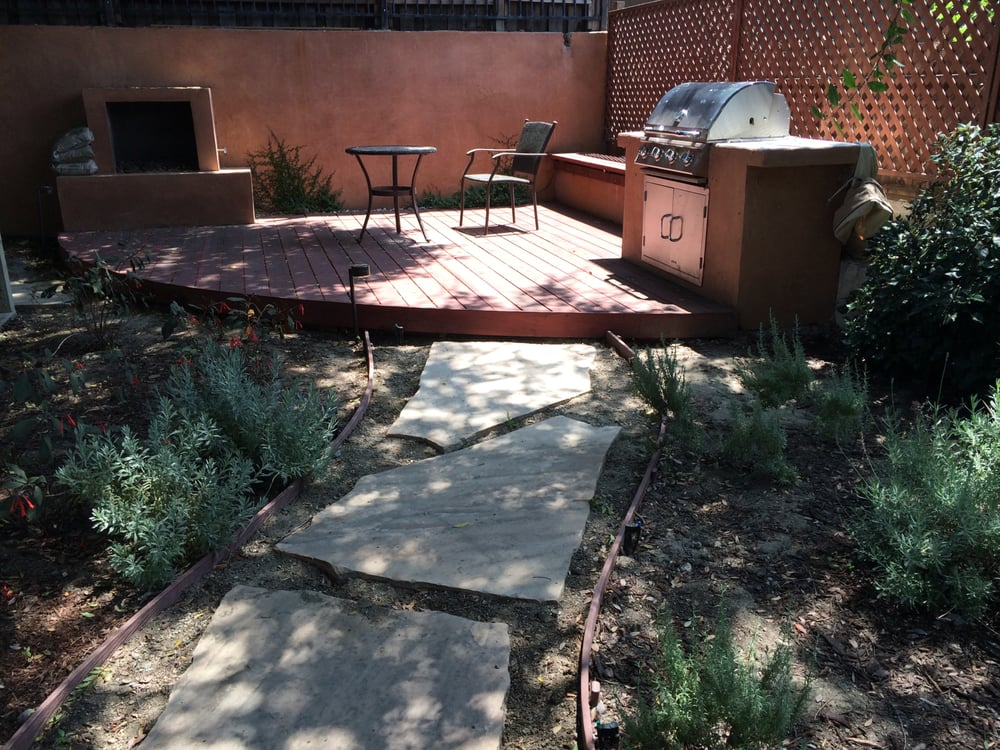 Flagstone Path Deck Built In Barbecue Fire Pit And