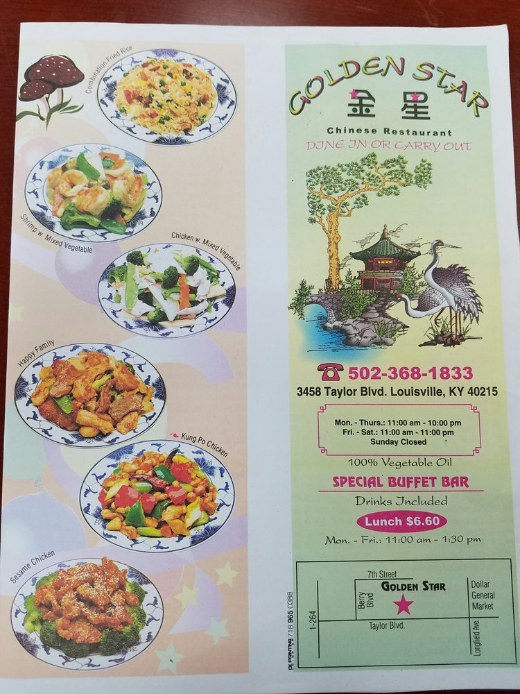 Menu Of Golden Star Chinese Fast Food