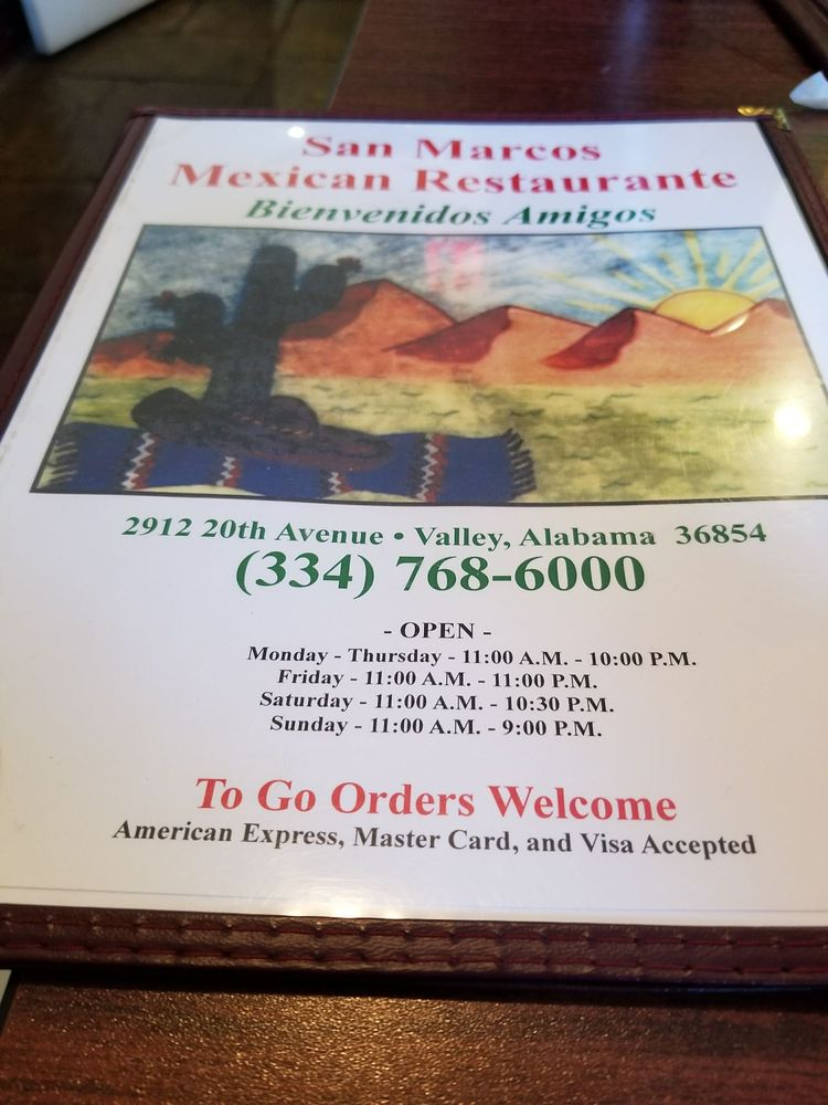 San Marcos Authentic Mexican Restaurant: 2912 20th Ave, Valley, AL