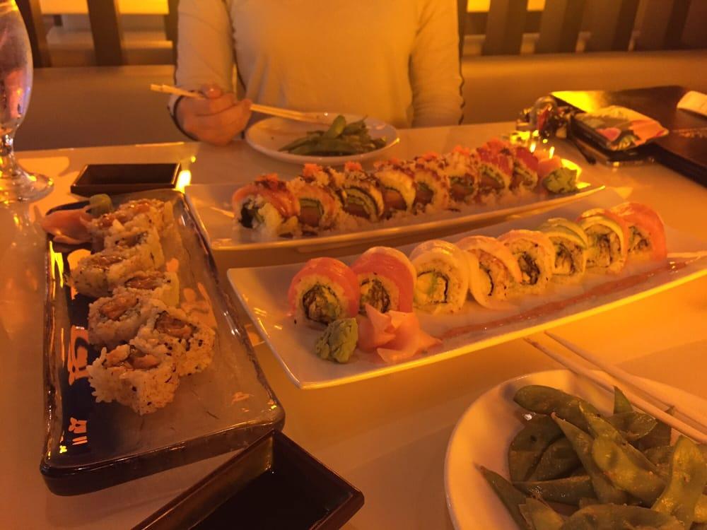 Spicy salmon rainbow spider red china rolls yelp for Akasaka japanese cuisine