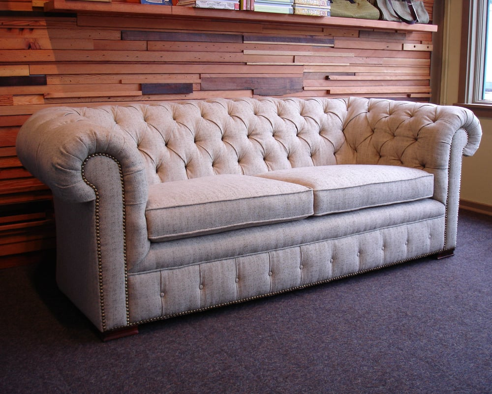 Chesterfield sofa covered with Soliloquy fabric; rayon organic cotton, and flax Yelp