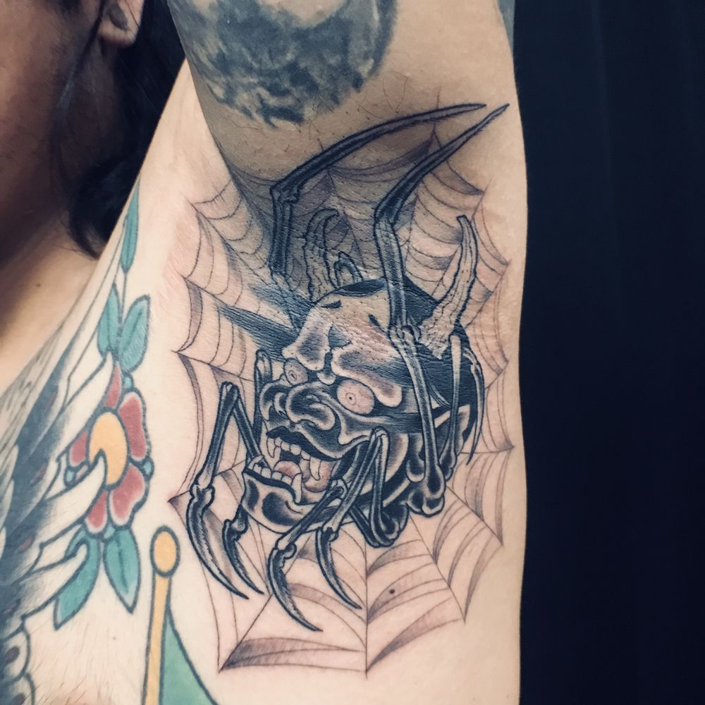 Hannya Spider Armpit Tattoo By Mark Nes Doing Best Japanese Style