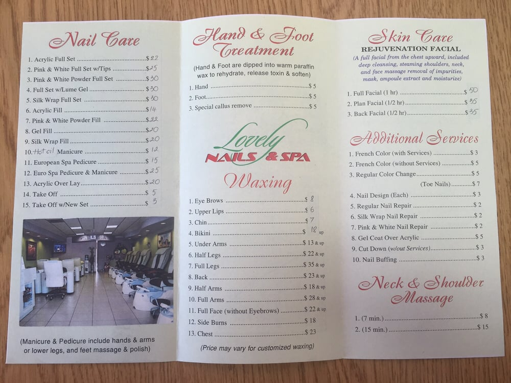 Lovely Nails & Spa\'s prices! - Yelp
