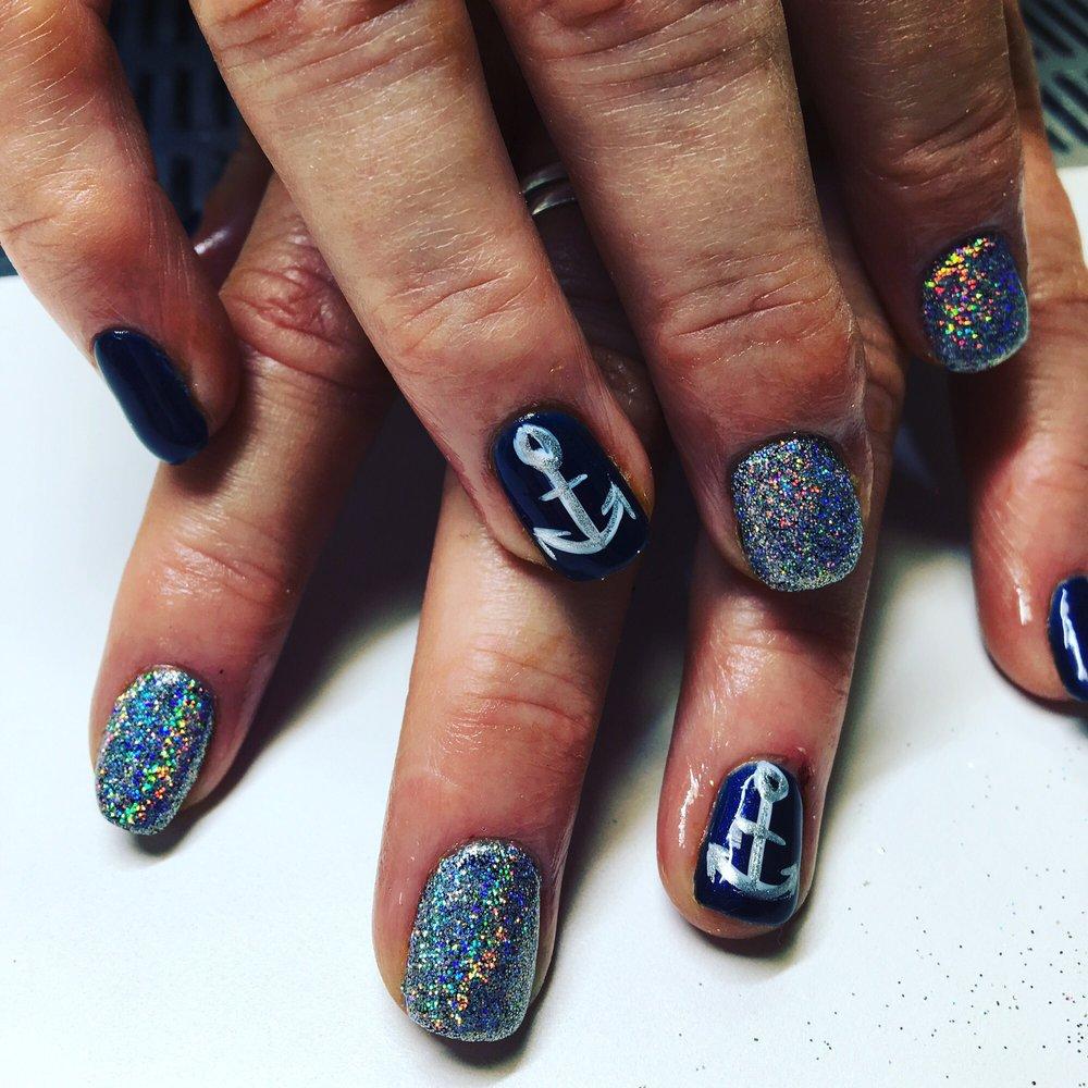 Gel polish with anchor nail art with rockstar hologram nails! - Yelp