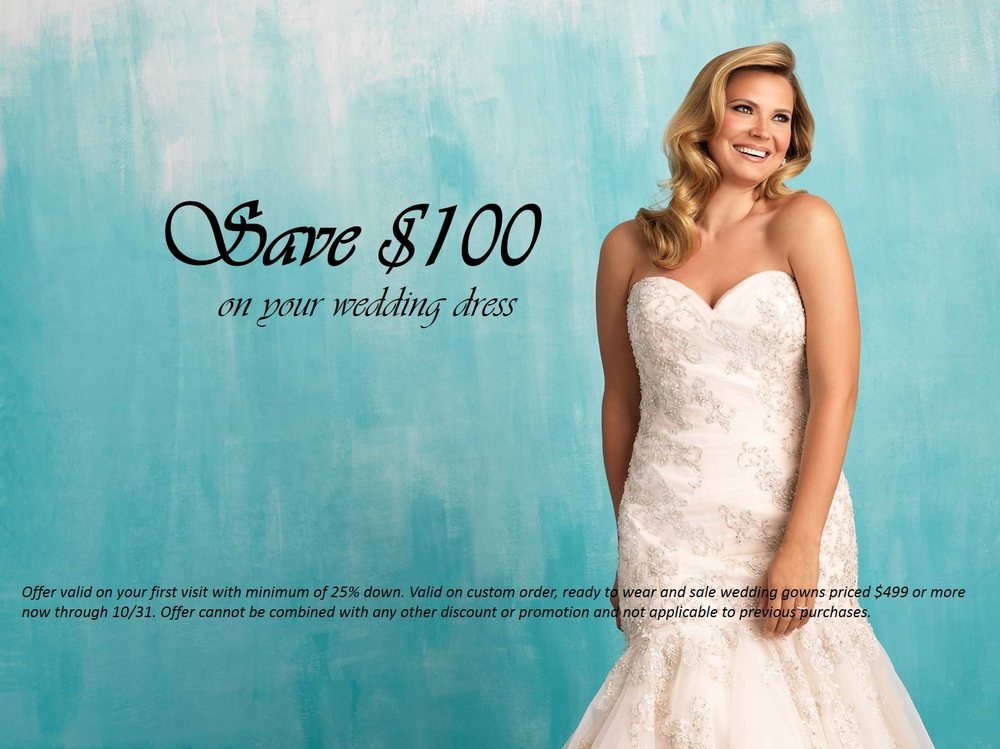 Save 100 On Your Wedding Dress On Your First Visit Through October