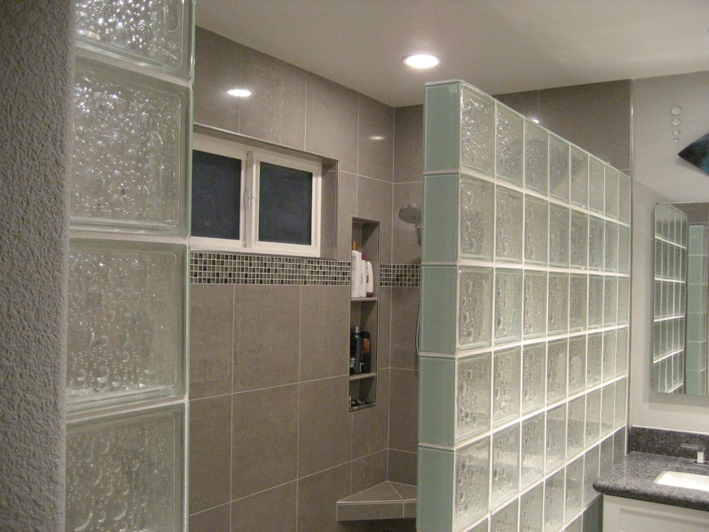 8x8 glass block shower wall and 16x16 polished porcelain tile wall san ramon yelp. Black Bedroom Furniture Sets. Home Design Ideas